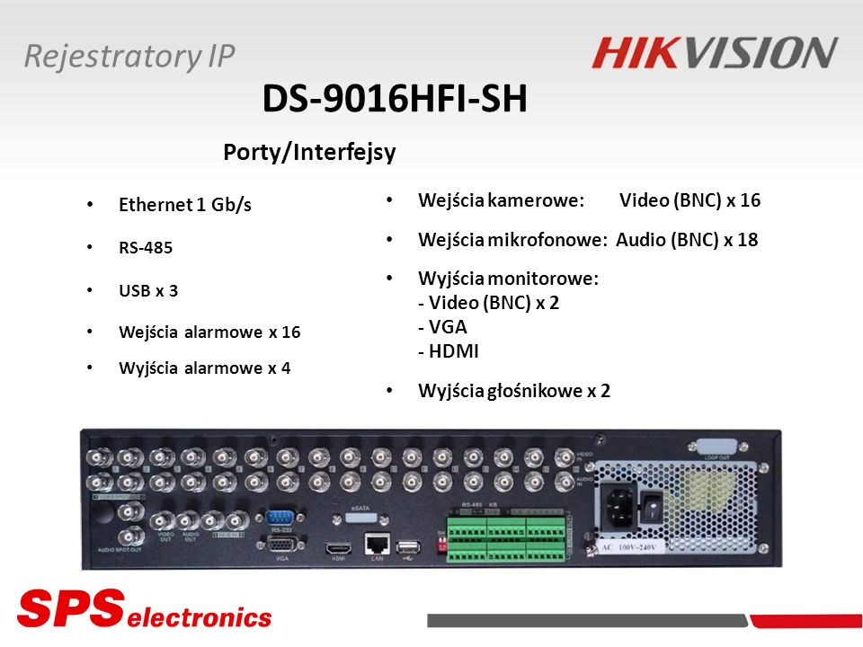DS-9016HFI-SH Porty/Interfejsy