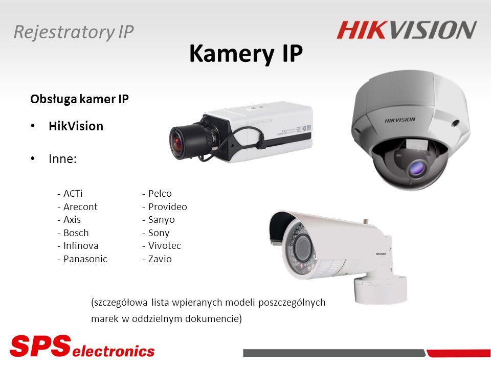 Kamery IP Rejestratory IP Obsługa kamer IP HikVision Inne: