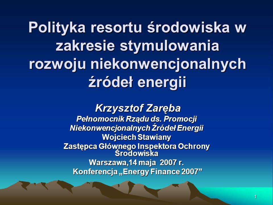 Polityka resortu środowiska w zakresie stymulowania rozwoju niekonwencjonalnych źródeł energii