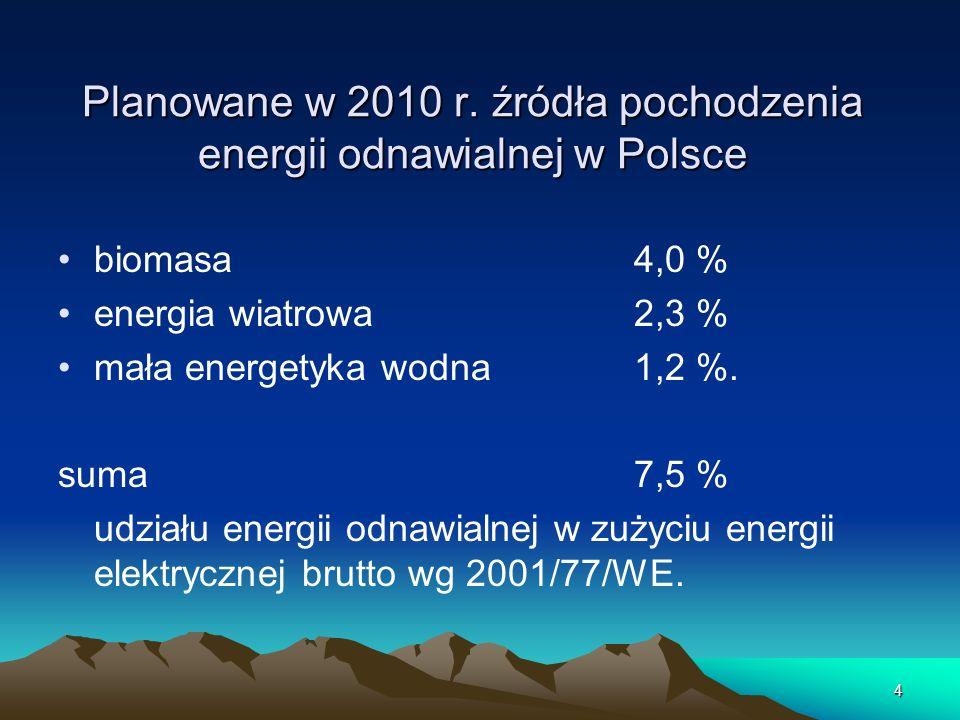 Planowane w 2010 r. źródła pochodzenia energii odnawialnej w Polsce