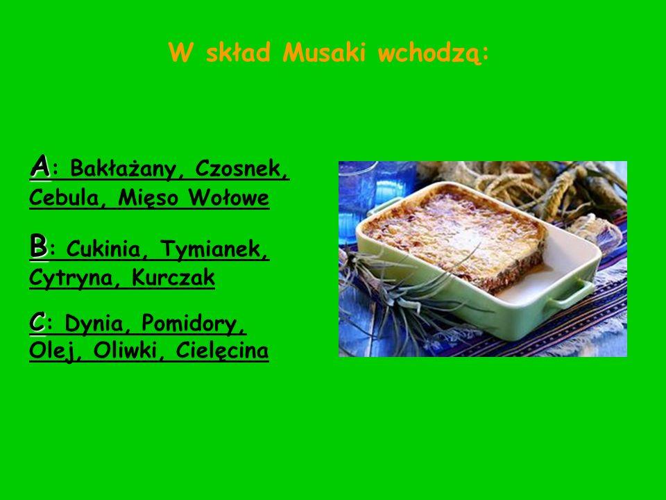 A: Bakłażany, Czosnek, Cebula, Mięso Wołowe