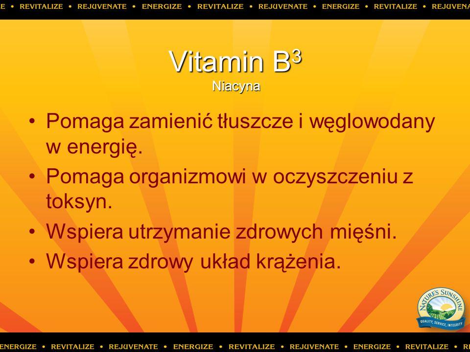 Vitamin B3 Niacyna Pomaga zamienić tłuszcze i węglowodany w energię.