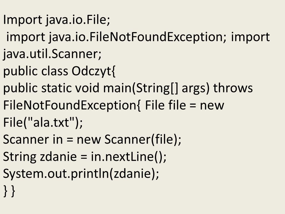Import java. io. File; import java. io