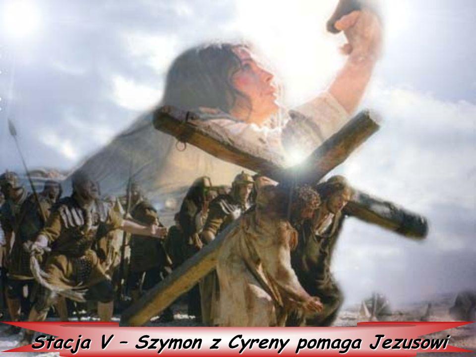 Stacja V – Szymon z Cyreny pomaga Jezusowi