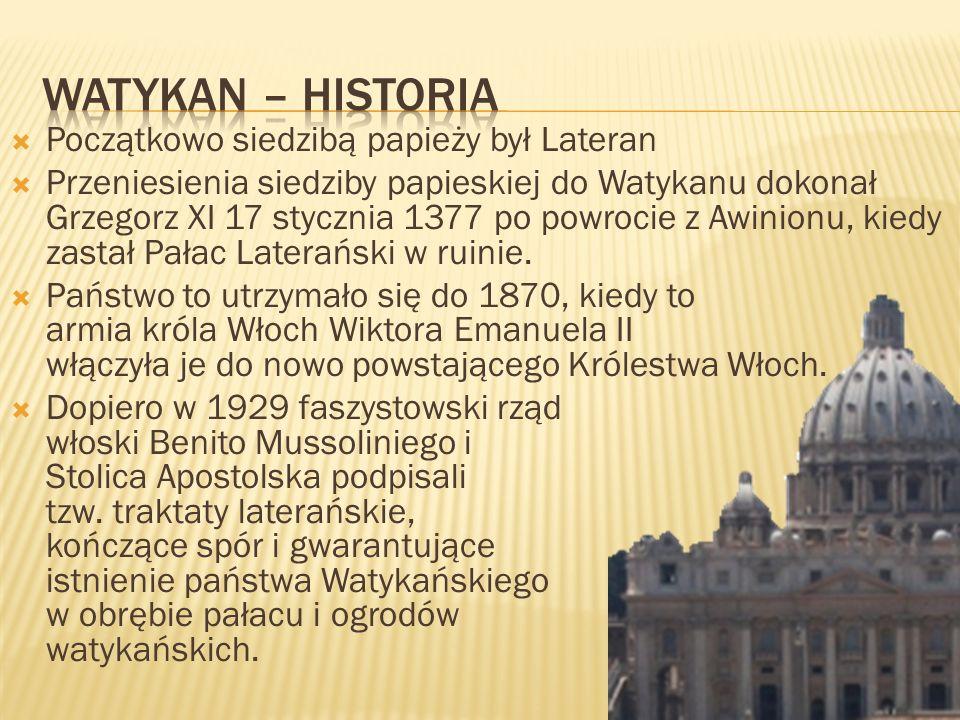 Watykan – Historia Początkowo siedzibą papieży był Lateran