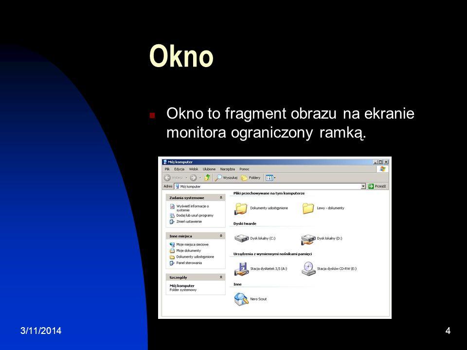 Okno Okno to fragment obrazu na ekranie monitora ograniczony ramką.