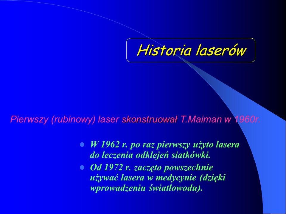 Historia laserów Pierwszy (rubinowy) laser skonstruował T.Maiman w 1960r.