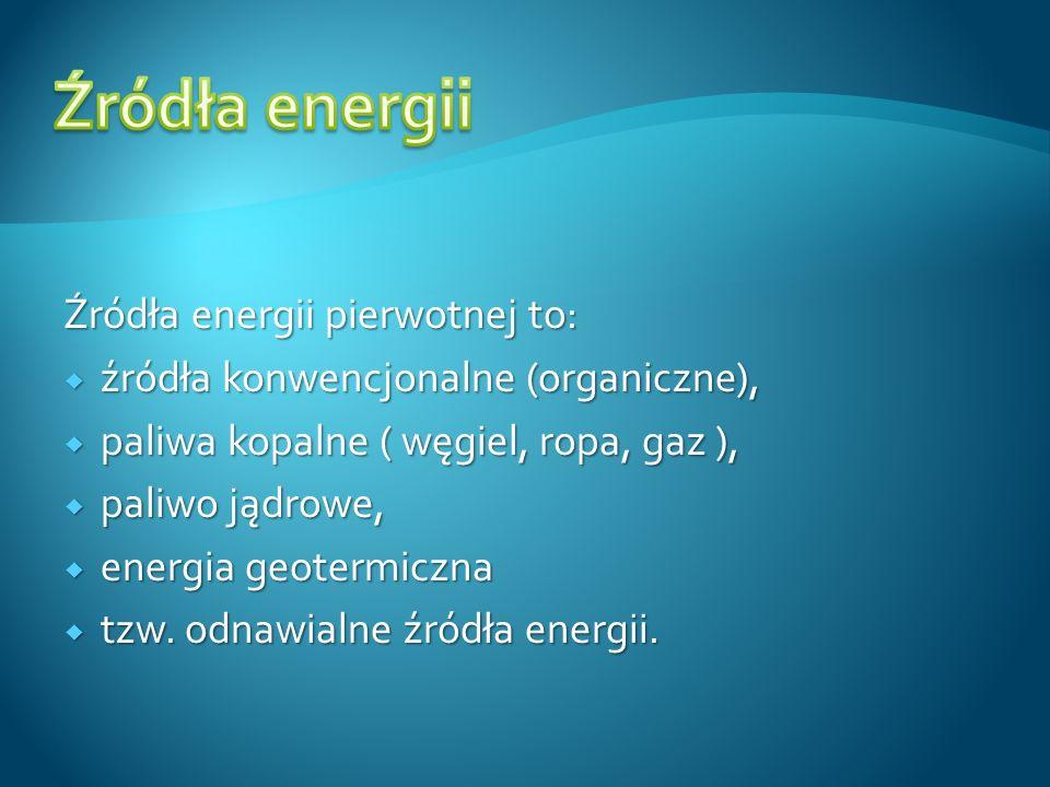 Źródła energii Źródła energii pierwotnej to: