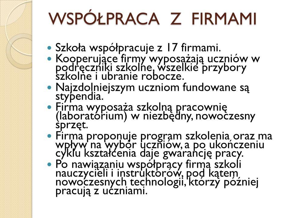 WSPÓŁPRACA Z FIRMAMI Szkoła współpracuje z 17 firmami.