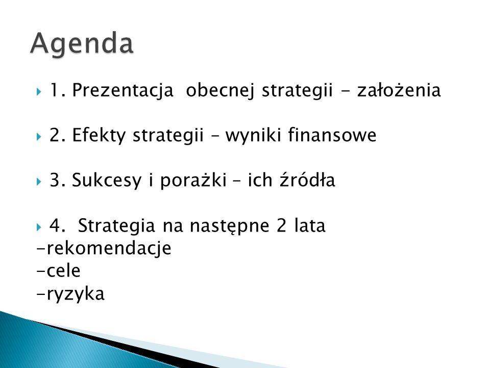 Agenda 1. Prezentacja obecnej strategii - założenia