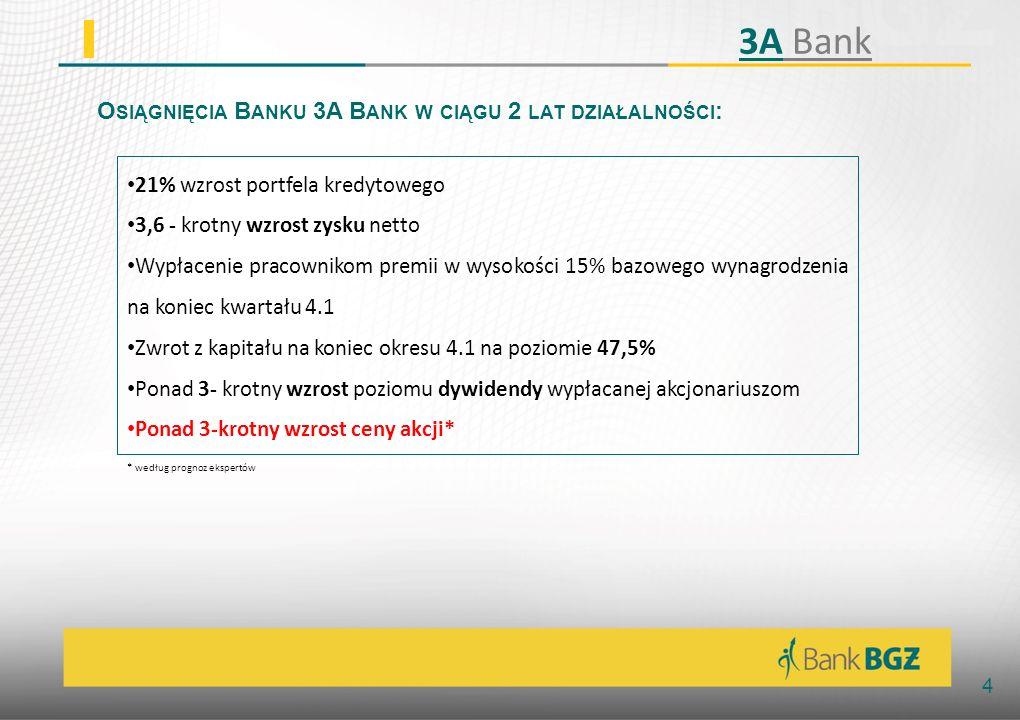 Osiągnięcia Banku 3A Bank w ciągu 2 lat działalności: