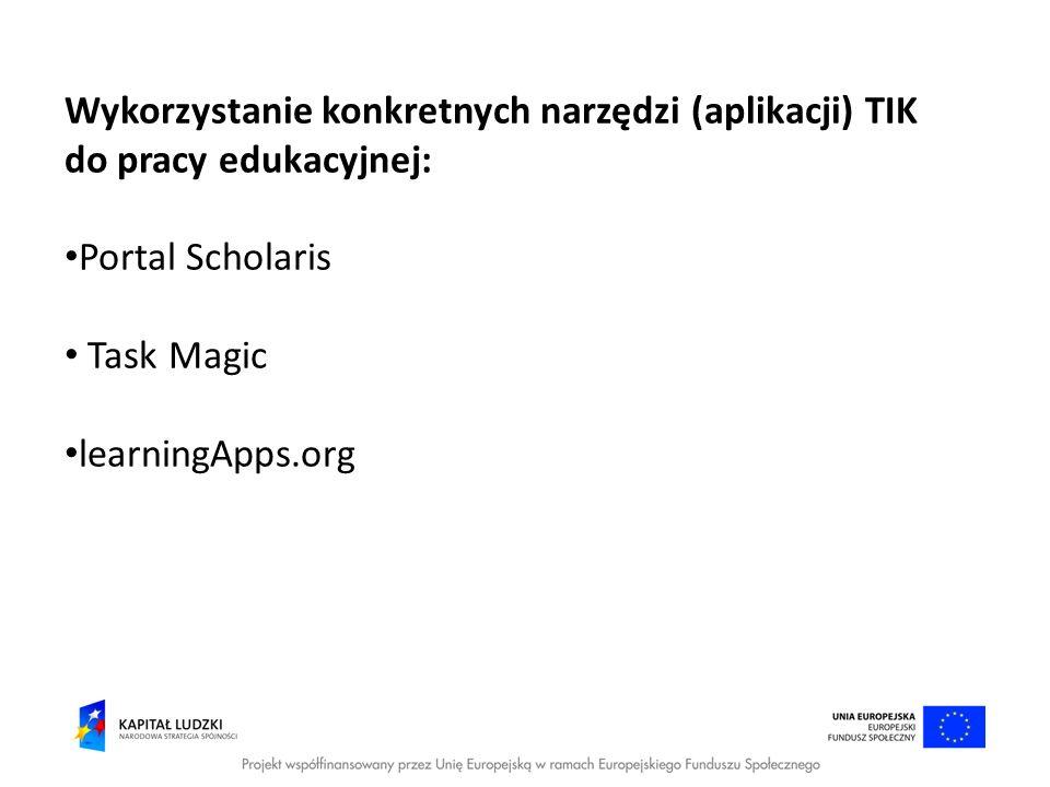 Wykorzystanie konkretnych narzędzi (aplikacji) TIK do pracy edukacyjnej: