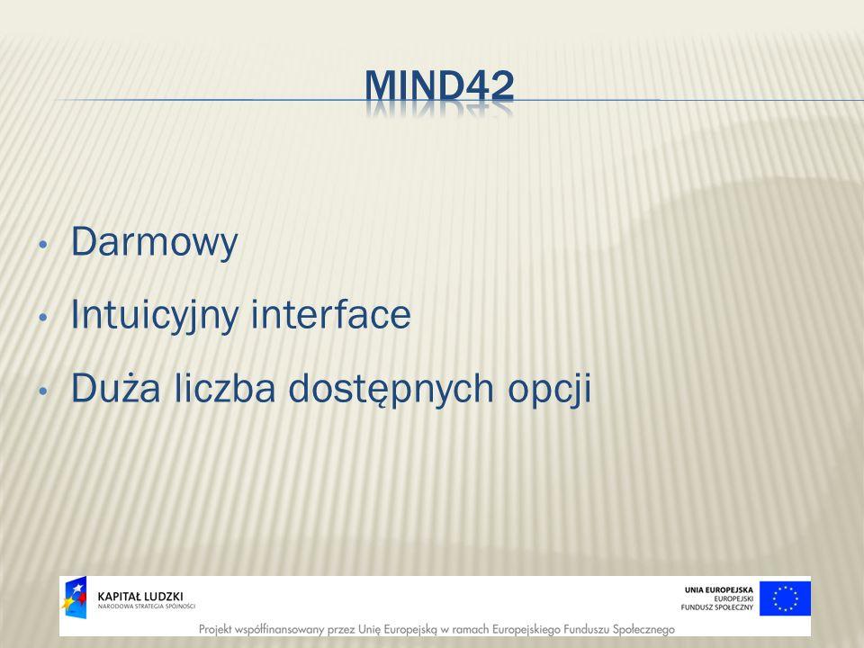 Mind42 Darmowy Intuicyjny interface Duża liczba dostępnych opcji