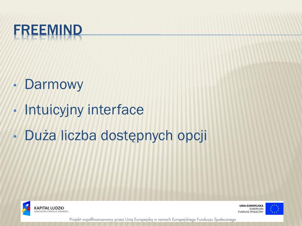 freeMind Darmowy Intuicyjny interface Duża liczba dostępnych opcji