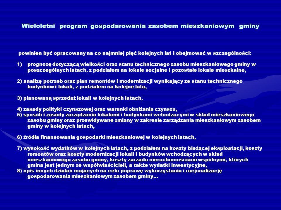 Wieloletni program gospodarowania zasobem mieszkaniowym gminy