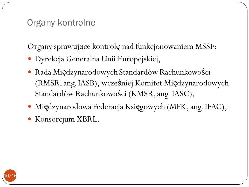 Organy kontrolne Organy sprawujące kontrolę nad funkcjonowaniem MSSF: