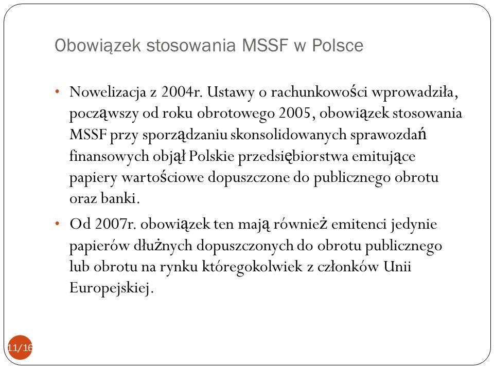 Obowiązek stosowania MSSF w Polsce