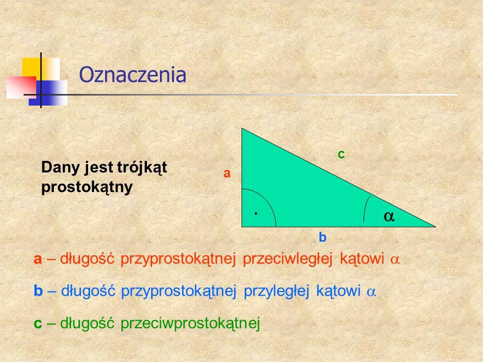 Oznaczenia a Dany jest trójkąt prostokątny
