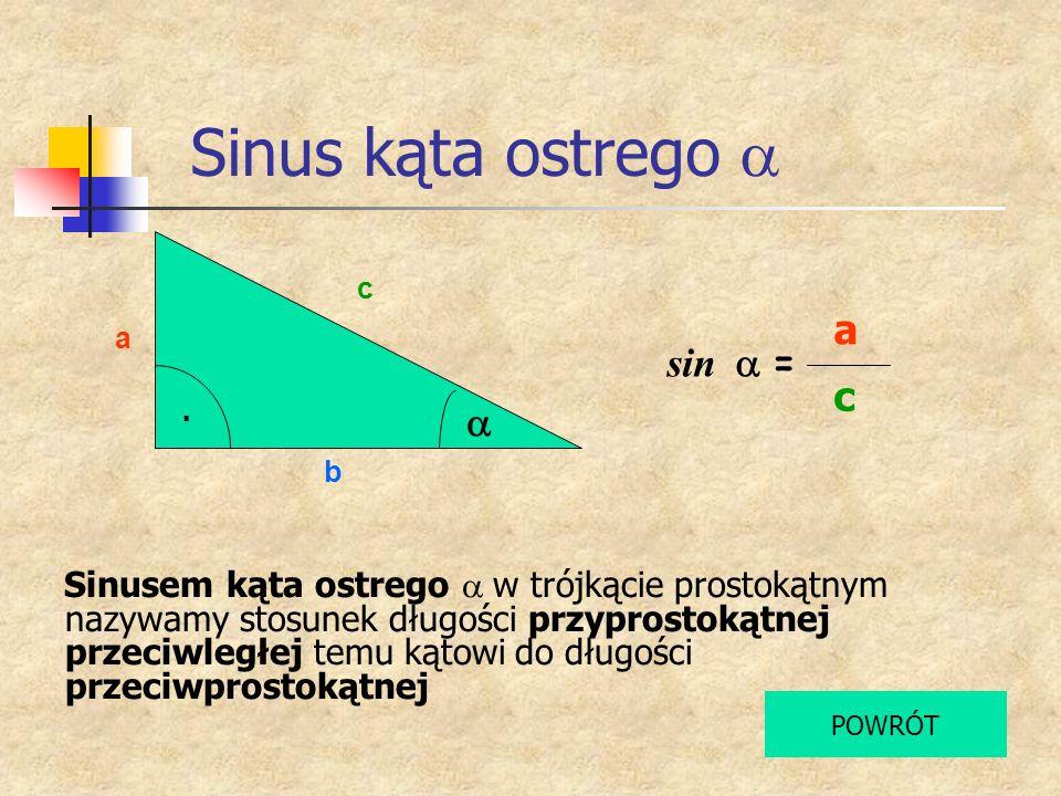 Sinus kąta ostrego a a sin a = c a