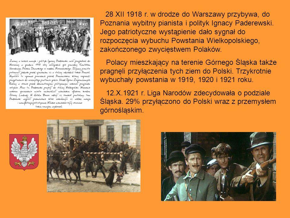 28 XII 1918 r. w drodze do Warszawy przybywa, do Poznania wybitny pianista i polityk Ignacy Paderewski. Jego patriotyczne wystąpienie dało sygnał do rozpoczęcia wybuchu Powstania Wielkopolskiego, zakończonego zwycięstwem Polaków.
