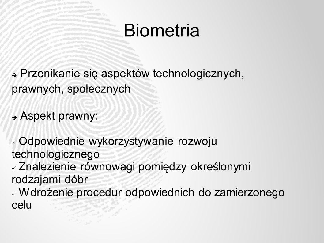 Biometria Przenikanie się aspektów technologicznych, prawnych, społecznych. Aspekt prawny: Odpowiednie wykorzystywanie rozwoju technologicznego.