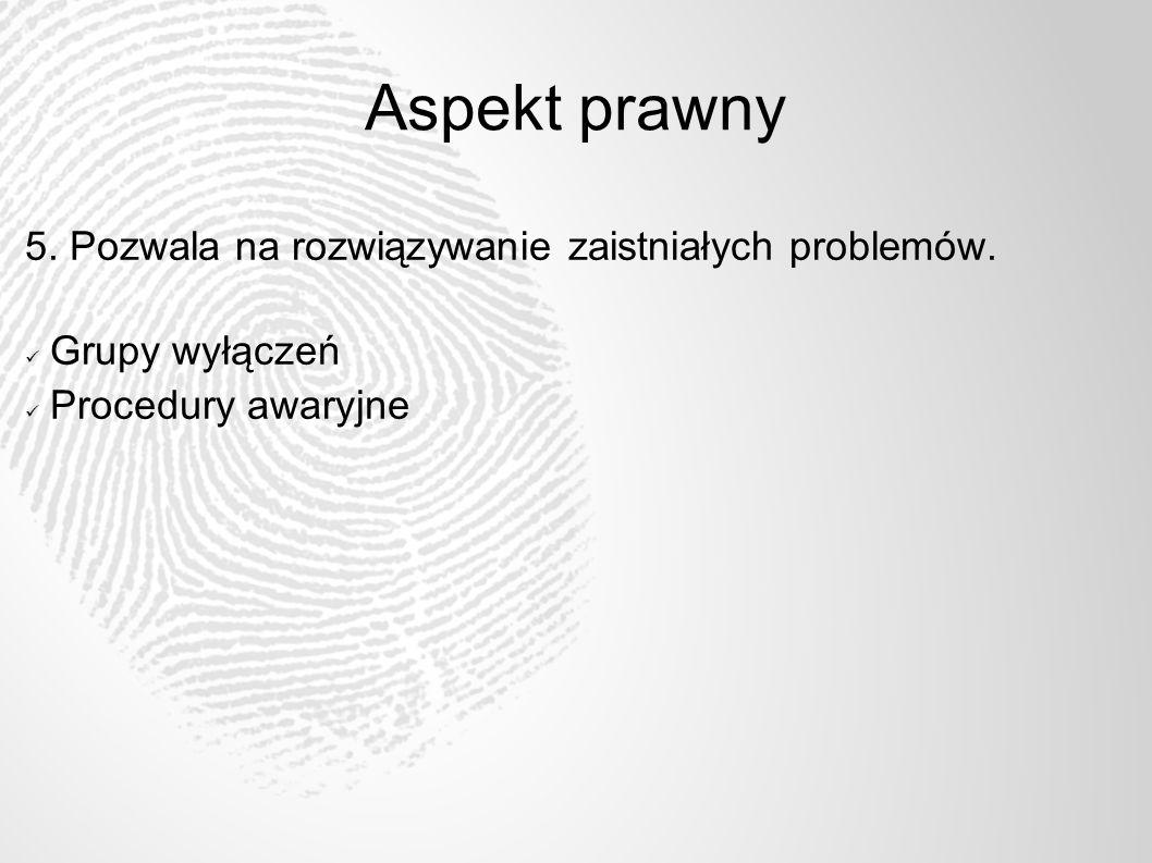 Aspekt prawny 5. Pozwala na rozwiązywanie zaistniałych problemów.