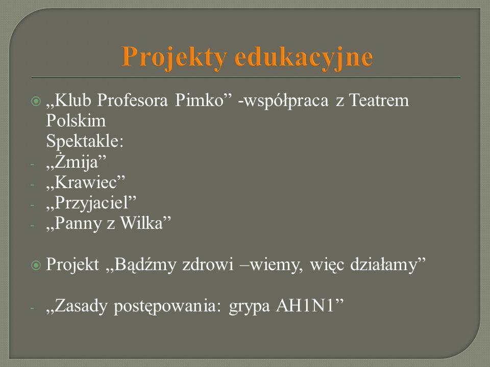 """Projekty edukacyjne""""Klub Profesora Pimko -współpraca z Teatrem Polskim. Spektakle: """"Żmija """"Krawiec"""