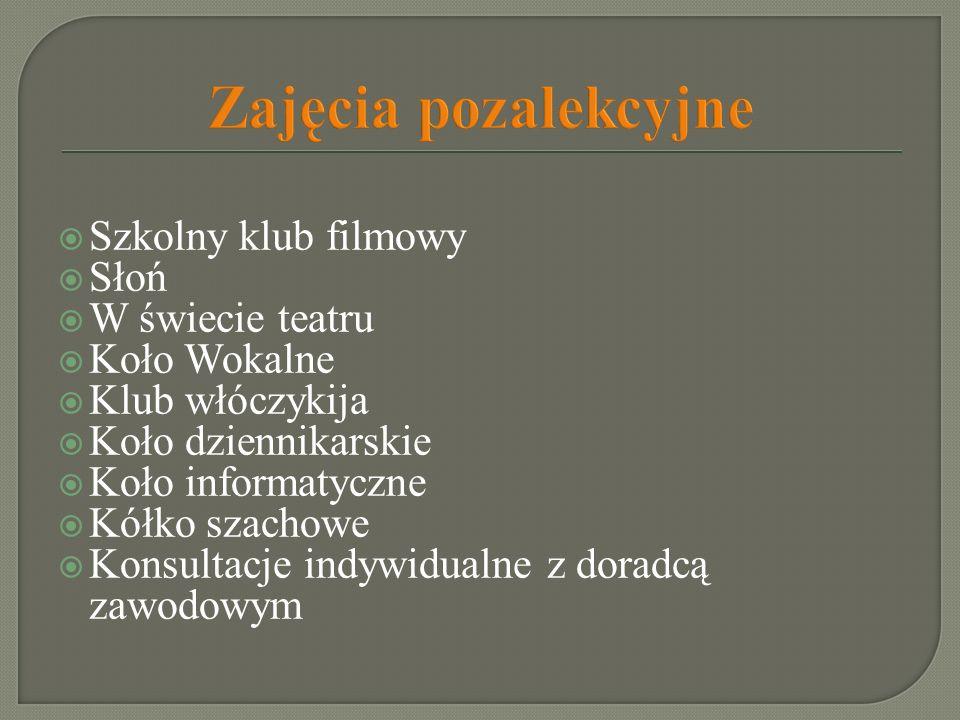 Zajęcia pozalekcyjne Szkolny klub filmowy Słoń W świecie teatru