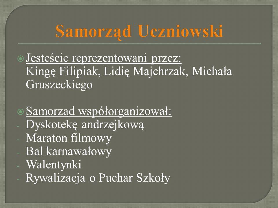 Samorząd Uczniowski Jesteście reprezentowani przez: