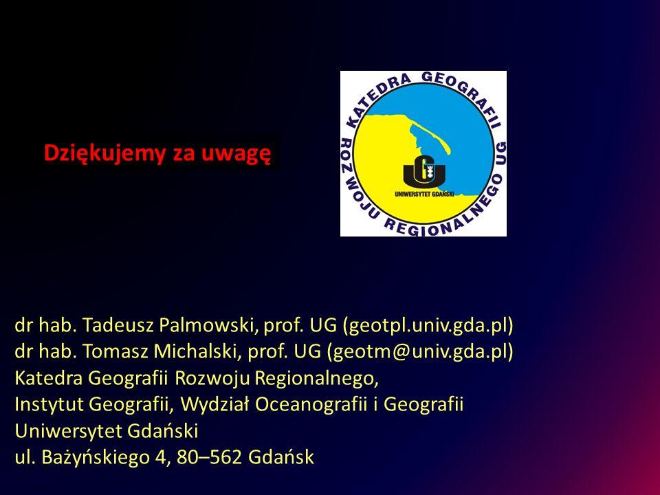 Dziękujemy za uwagę dr hab. Tadeusz Palmowski, prof. UG (geotpl.univ.gda.pl) dr hab. Tomasz Michalski, prof. UG (geotm@univ.gda.pl)