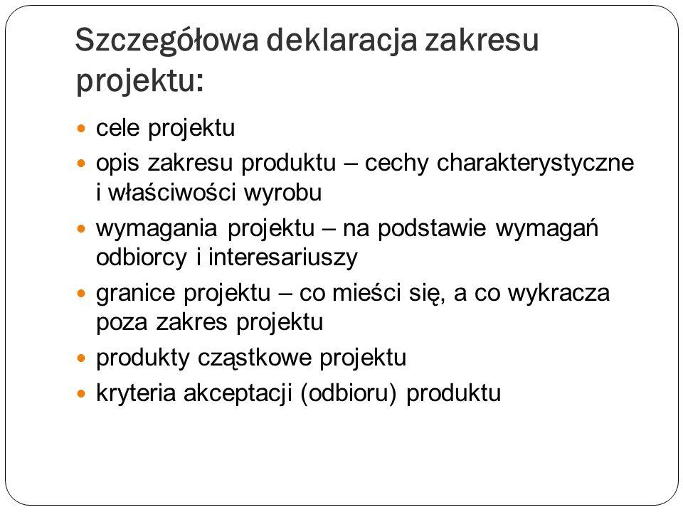 Szczegółowa deklaracja zakresu projektu: