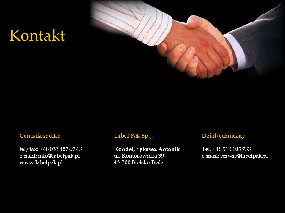 Kontakt Centrala spółki: tel/fax: +48 033 487 67 43