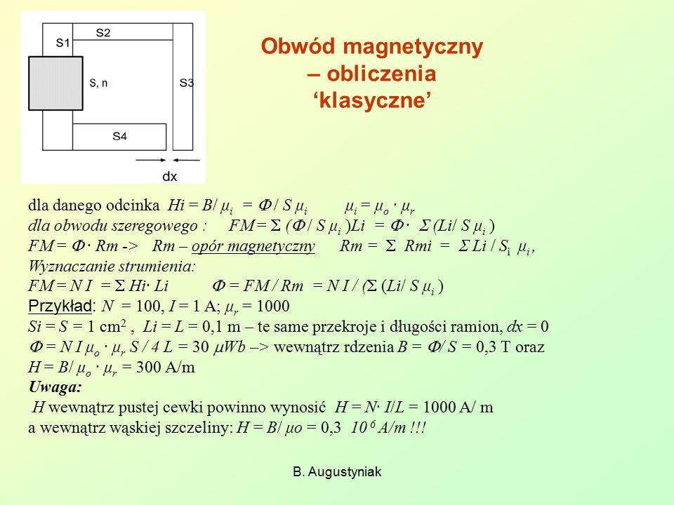 Obwód magnetyczny – obliczenia 'klasyczne'