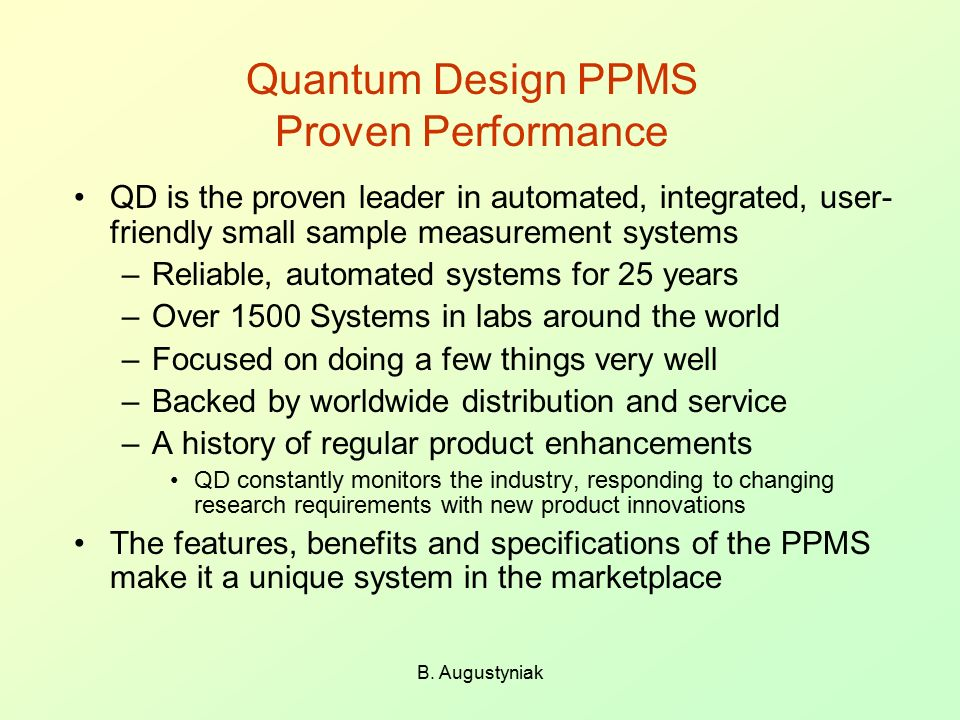Quantum Design PPMS Proven Performance
