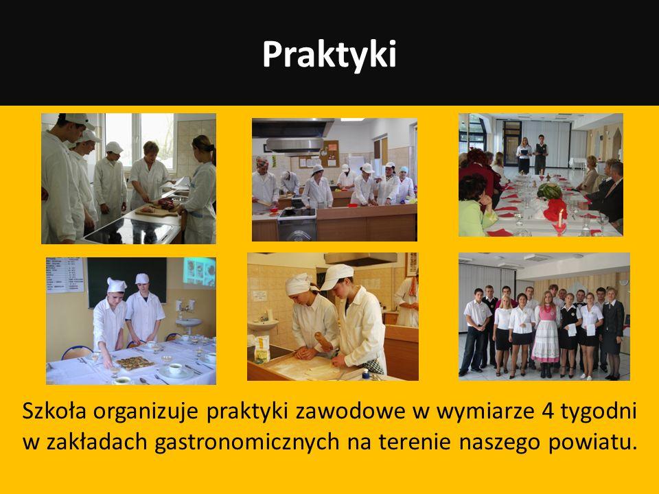 PraktykiSzkoła organizuje praktyki zawodowe w wymiarze 4 tygodni w zakładach gastronomicznych na terenie naszego powiatu.