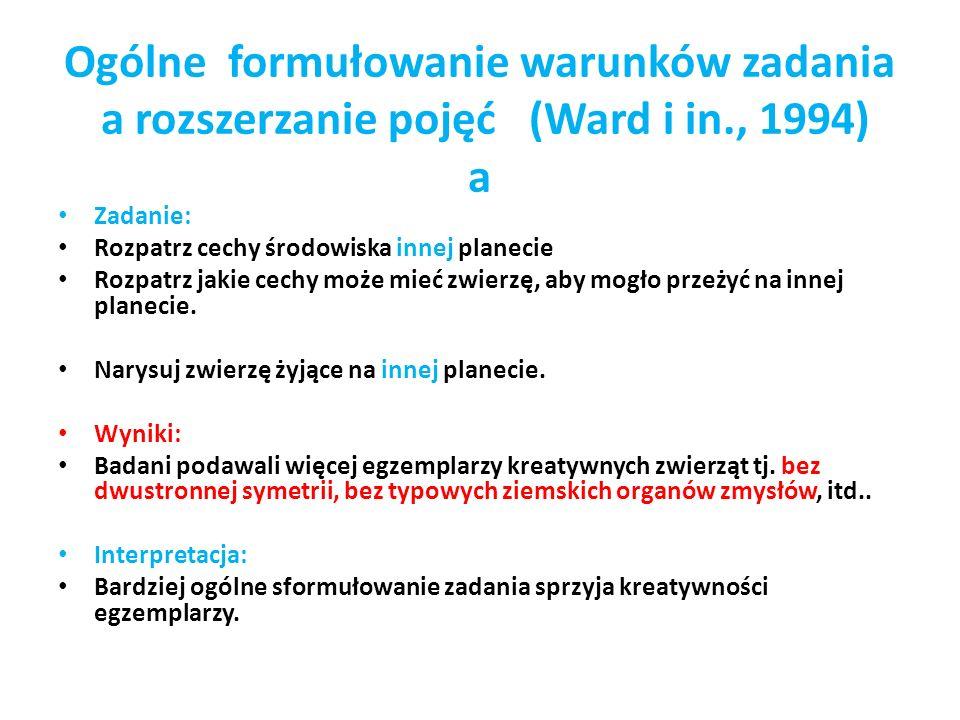 Ogólne formułowanie warunków zadania a rozszerzanie pojęć (Ward i in