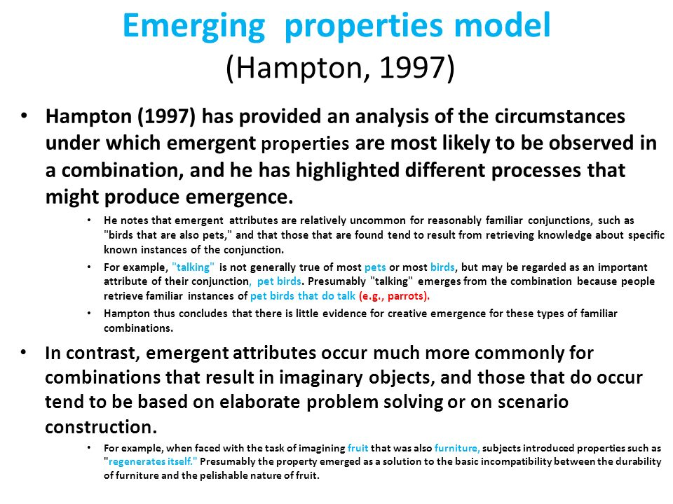 Emerging properties model (Hampton, 1997)