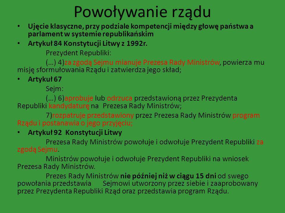 Powoływanie rządu Ujęcie klasyczne, przy podziale kompetencji między głowę państwa a parlament w systemie republikańskim.