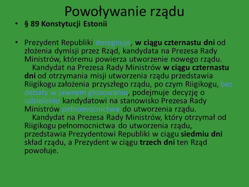 Powoływanie rządu § 89 Konstytucji Estonii
