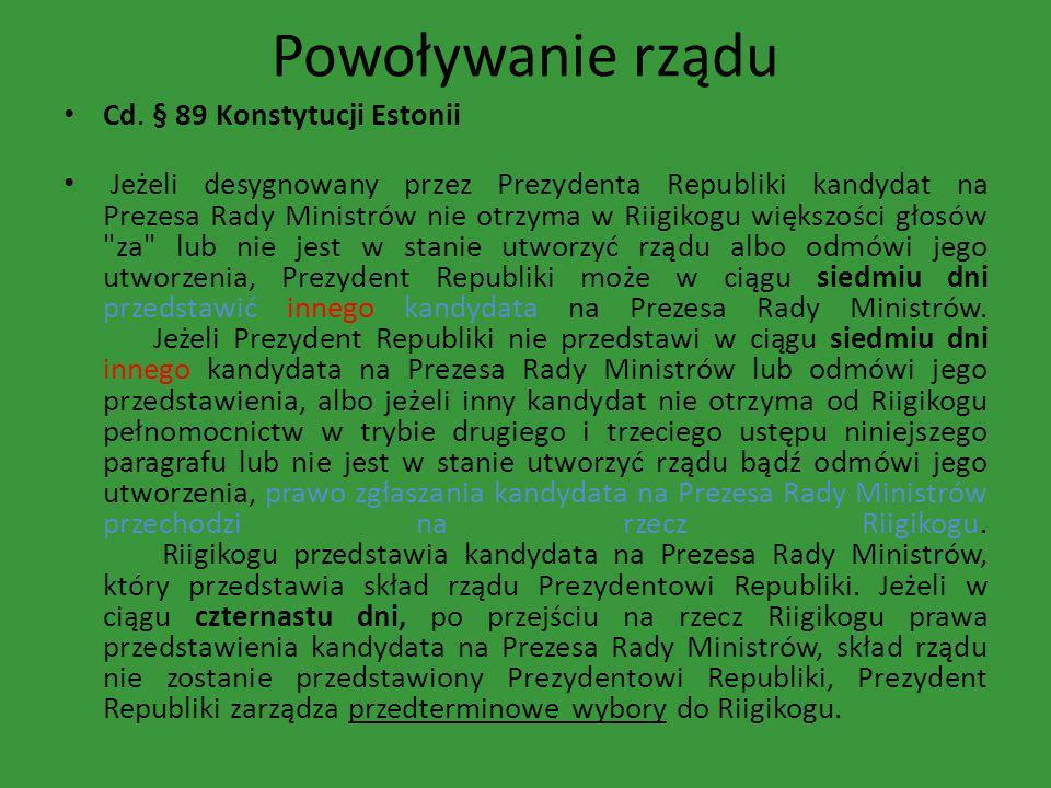 Powoływanie rządu Cd. § 89 Konstytucji Estonii