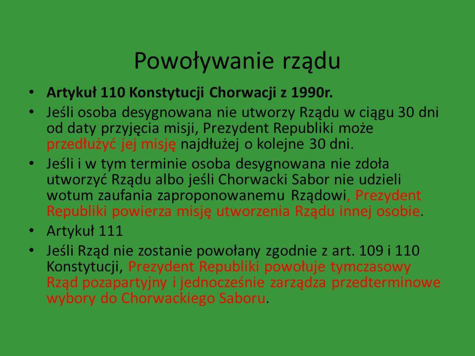 Powoływanie rządu Artykuł 110 Konstytucji Chorwacji z 1990r.