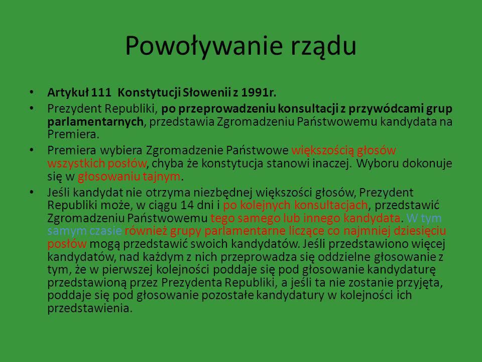 Powoływanie rządu Artykuł 111 Konstytucji Słowenii z 1991r.