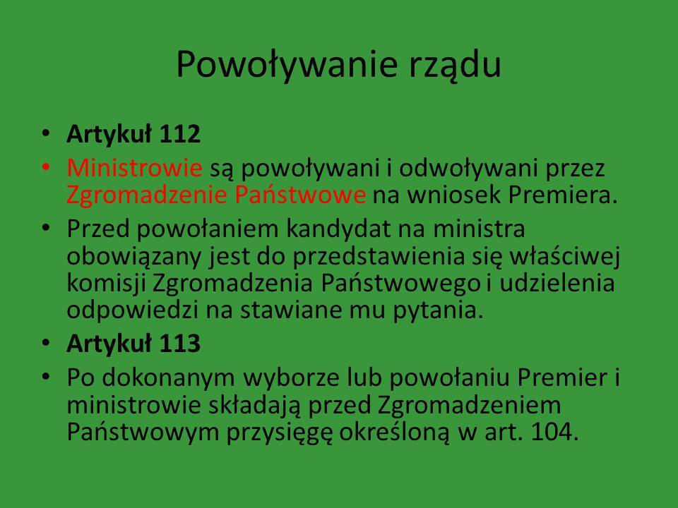 Powoływanie rządu Artykuł 112