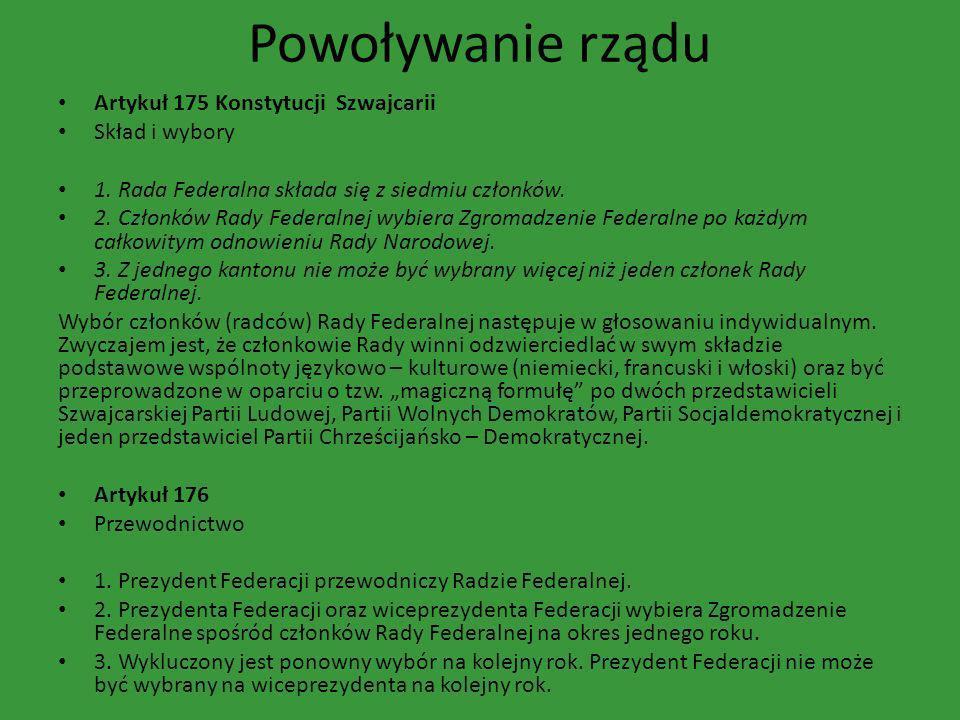 Powoływanie rządu Artykuł 175 Konstytucji Szwajcarii Skład i wybory