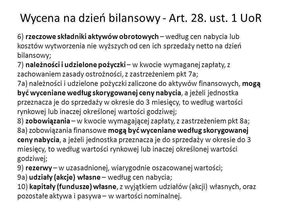 Wycena na dzień bilansowy - Art. 28. ust. 1 UoR