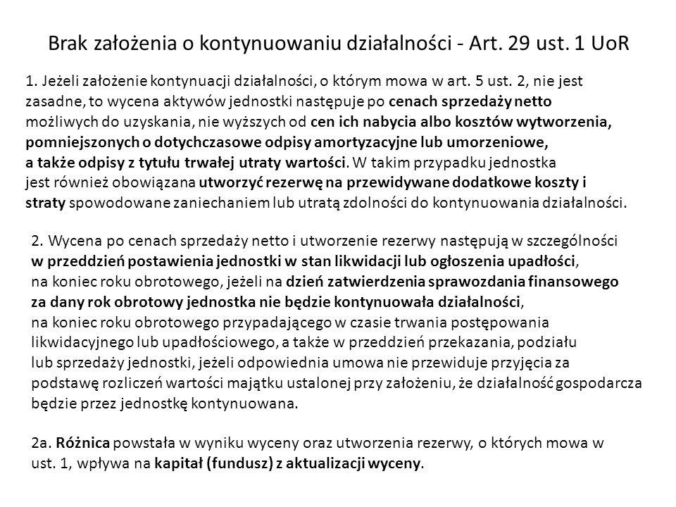 Brak założenia o kontynuowaniu działalności - Art. 29 ust. 1 UoR