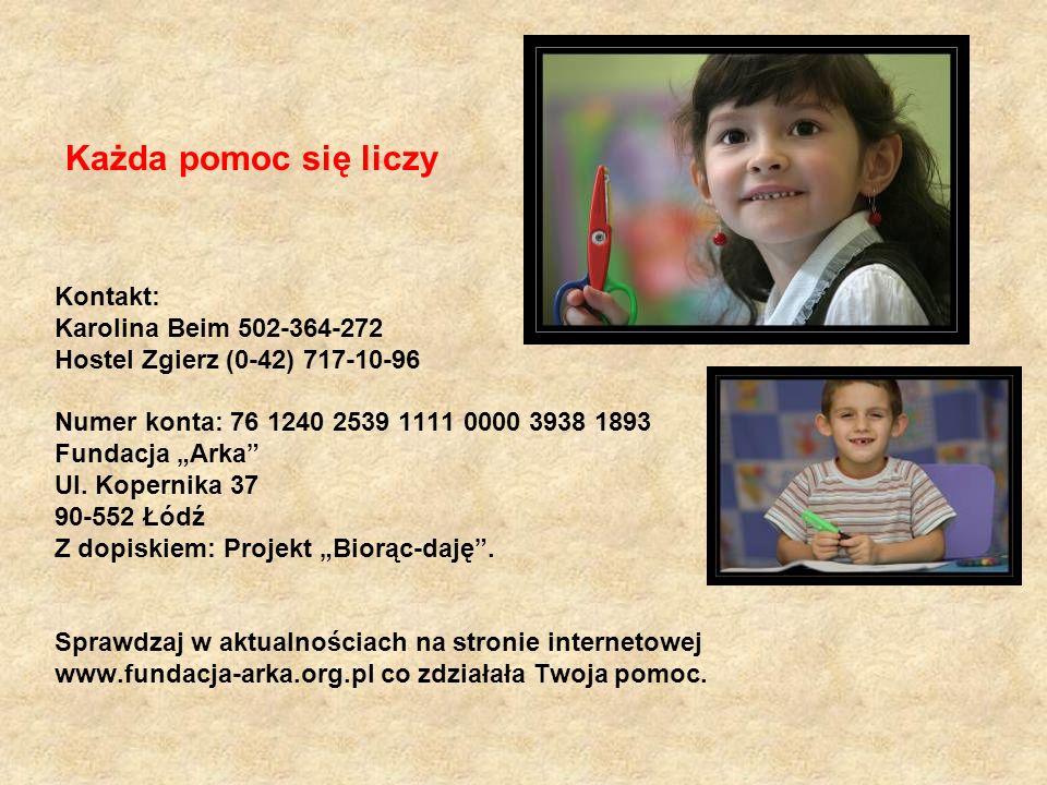 Każda pomoc się liczy Kontakt: Karolina Beim 502-364-272