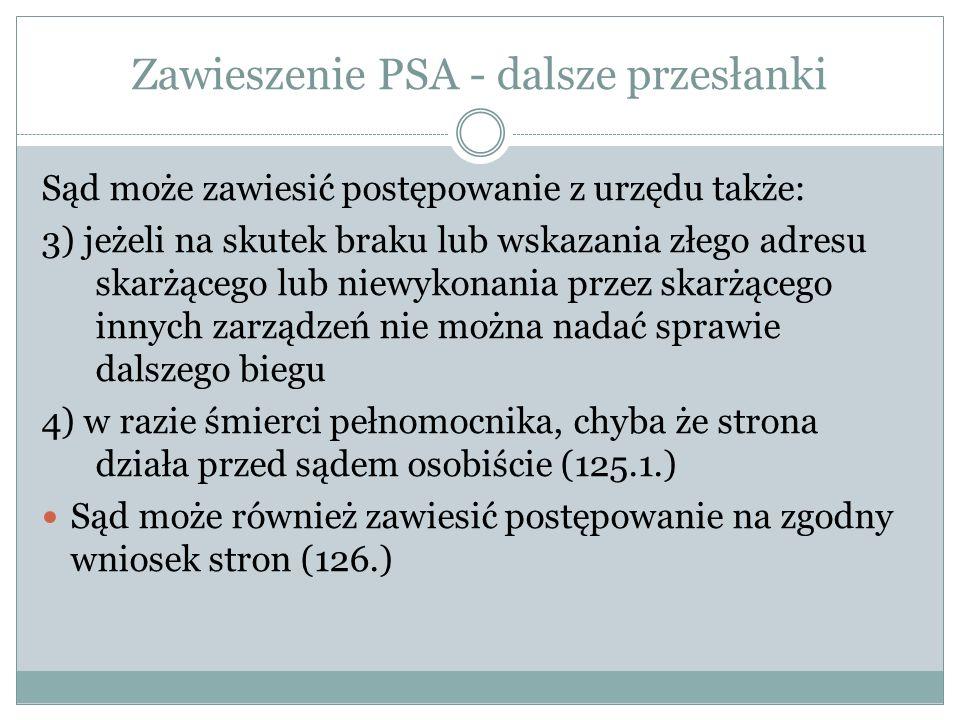 Zawieszenie PSA - dalsze przesłanki