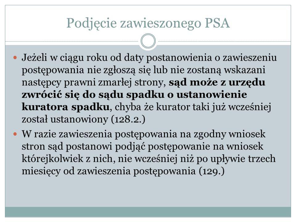 Podjęcie zawieszonego PSA