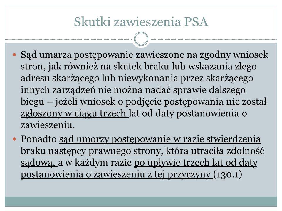 Skutki zawieszenia PSA